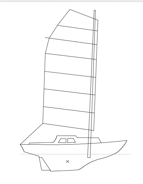 Sail plan, 7 battens plus yard