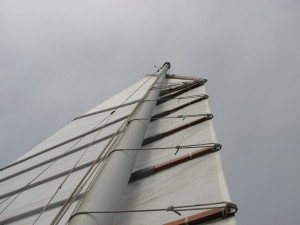Traditional Hasler sail with no camber