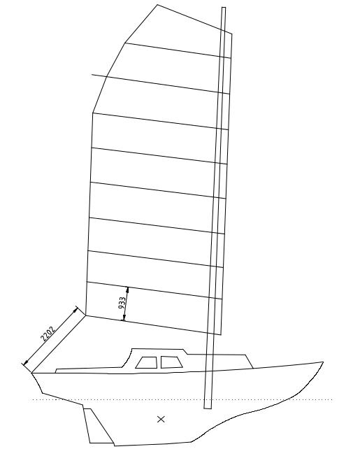 Mast aft of main bulkhead, 31 sqm, AR = 2.34