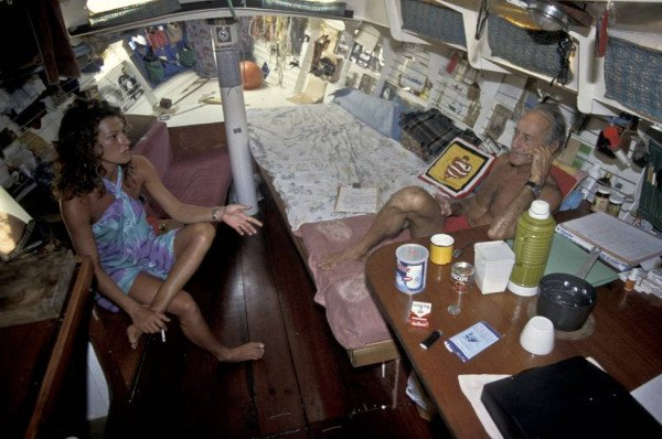 Cozy barebones sailboat interior, the Tamata of Bernard Moitessier